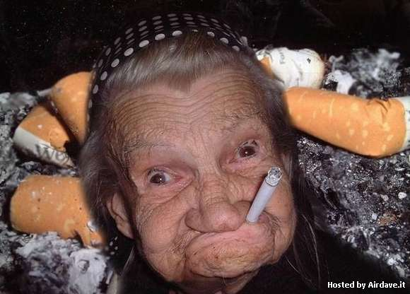 Funny Old Lady Faces Smoking